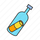 bottle, float, letter, mail, message, soar icon