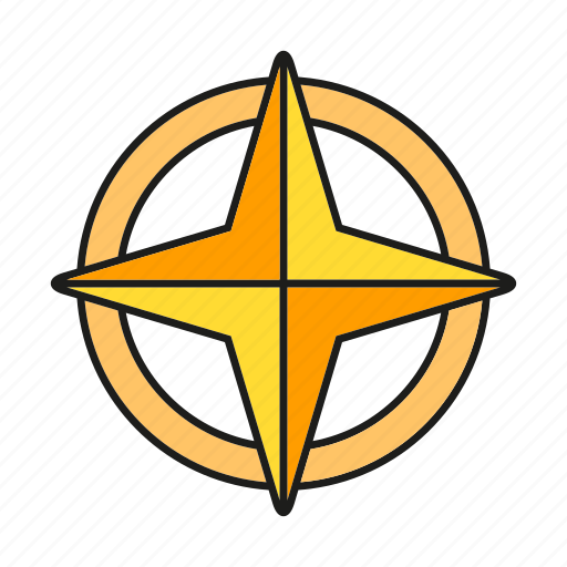 compass, direction, navigation, star icon