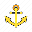 anchor, navigation, navy, sailing icon