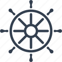 boat, gear, marine, nautical, sea, ship, steering, travel, wheel icon