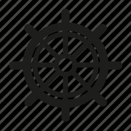 helm, sail, sailing, sea, ship, wheel icon