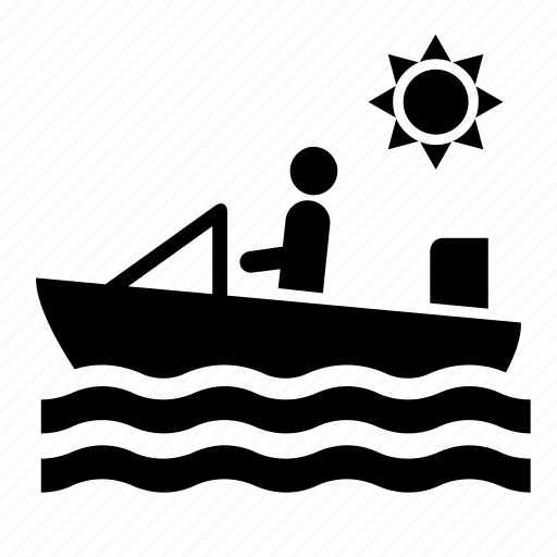 boat, motorboat, sea, summer, sun, transport, water icon