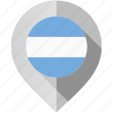 argentina, flag, map, marker icon