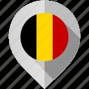 belgium, flag, map, marker icon