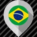 brazil, flag, map, marker icon
