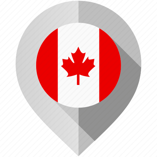canada, flag, map, marker icon