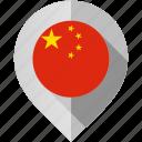 china, flag, map, marker icon