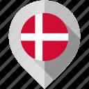 denmark, flag, map, marker icon