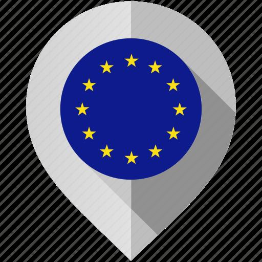 european union, flag, map, marker icon