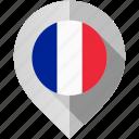 flag, france, map, marker icon