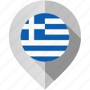flag, greece, map, marker icon