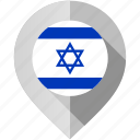 flag, israel, map, marker icon