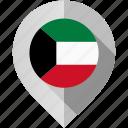 flag, kuwait, map, marker icon