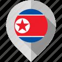 flag, korea, map, marker, north icon
