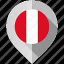 flag, map, marker, peru icon