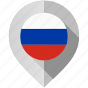 flag, map, marker, russia icon