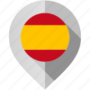 country, flag, location, map, marker, spain, world icon
