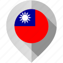 country, flag, location, map, marker, taiwan, world icon