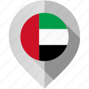 arab emirates, country, flag, location, map, marker, united icon