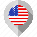 america, country, flag, location, map, marker, usa icon