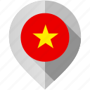 country, flag, location, map, marker, vietnam, world icon
