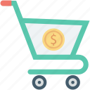 dollar, ecommerce, shopping, shopping cart, shopping trolley icon