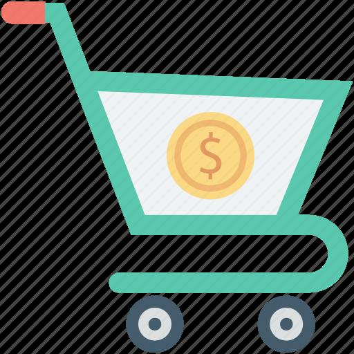 dollar, ecommerce, shopping, shopping cart, shopping trolley icon