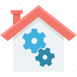 building, cog, gear, home, house icon