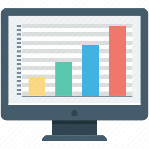analytics, diagram, infographics, monitor, online graphs icon