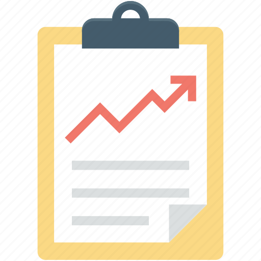 business report, clipboard, graph report, line chart, line graph icon