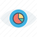 eye, pie chart, pie graph, visibility, vision icon