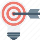 bulb, bullseye, focus, idea, innovative idea icon