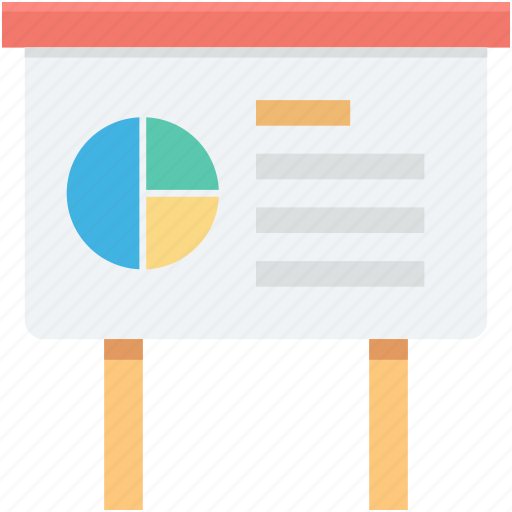business presentation, easel, graph presentation, pie graph, presentation icon