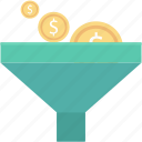 currency exchange, dollar, economy, funnel, money filter icon