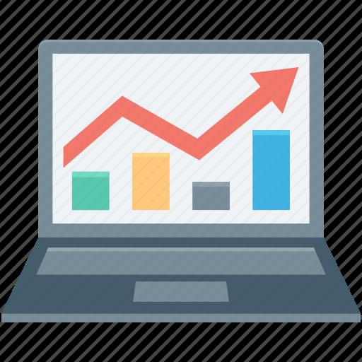 business graph, graph, laptop, online graph, statistics icon
