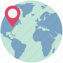 global location, globe with pin, location pin, location with globe, map pin, navigation, worldwide location icon