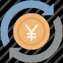 jpy, money transfer, yen, yen processing, yen refresh, yen value, yen with processing icon