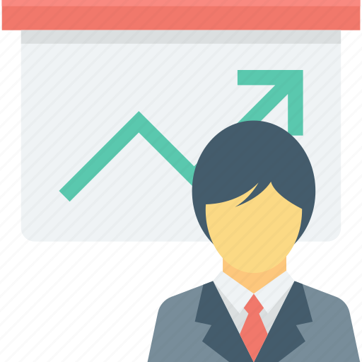 business presentation, graph presentation, presentation, speaker, teacher icon