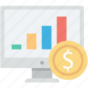 diagram, dollar, online analytics, online graphs, web analytics icon
