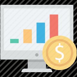 diagram, dollar, online analytics, online graphs, web analytics icon