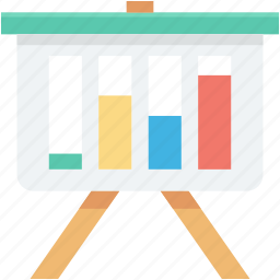 bar graph, business presentation, easel board, graph presentation, presentation icon