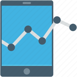 infographic, line graph, mobile, mobile graph, online graph icon