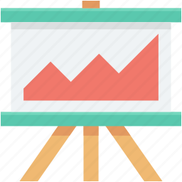 business presentation, easel board, graph presentation, presentation, whiteboard icon