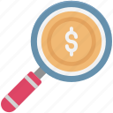 commerce, dollar, magnifier, search finance, search money icon