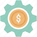business customization, business gear, business management, business settings, dollar in cog, dollar in gear, dollar inside cog icon