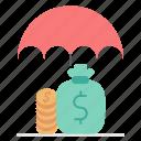 funds, insurance, market & economics, protection, umbrella icon