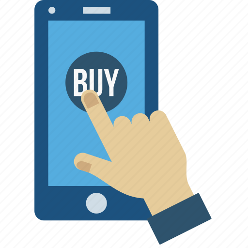 buy, gesture, hand, mobile, online, sell, shop icon