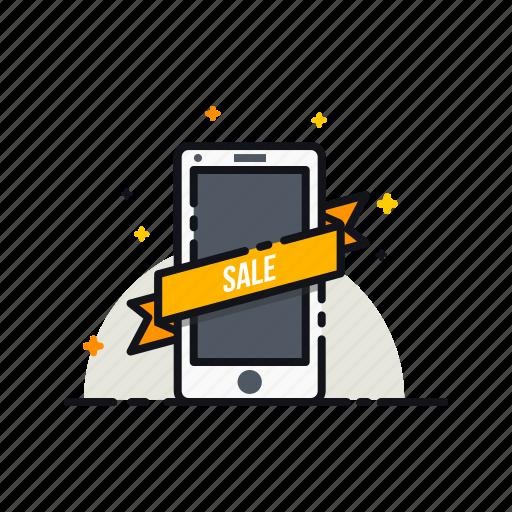 label, mobile, online, ribbon, sale, shopping, sticker icon
