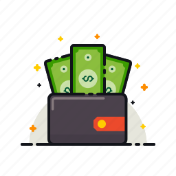 cash, currency, money, notes, payment, purse, wallet icon