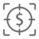 finance, focus, marketing, money, payment, search, seo icon